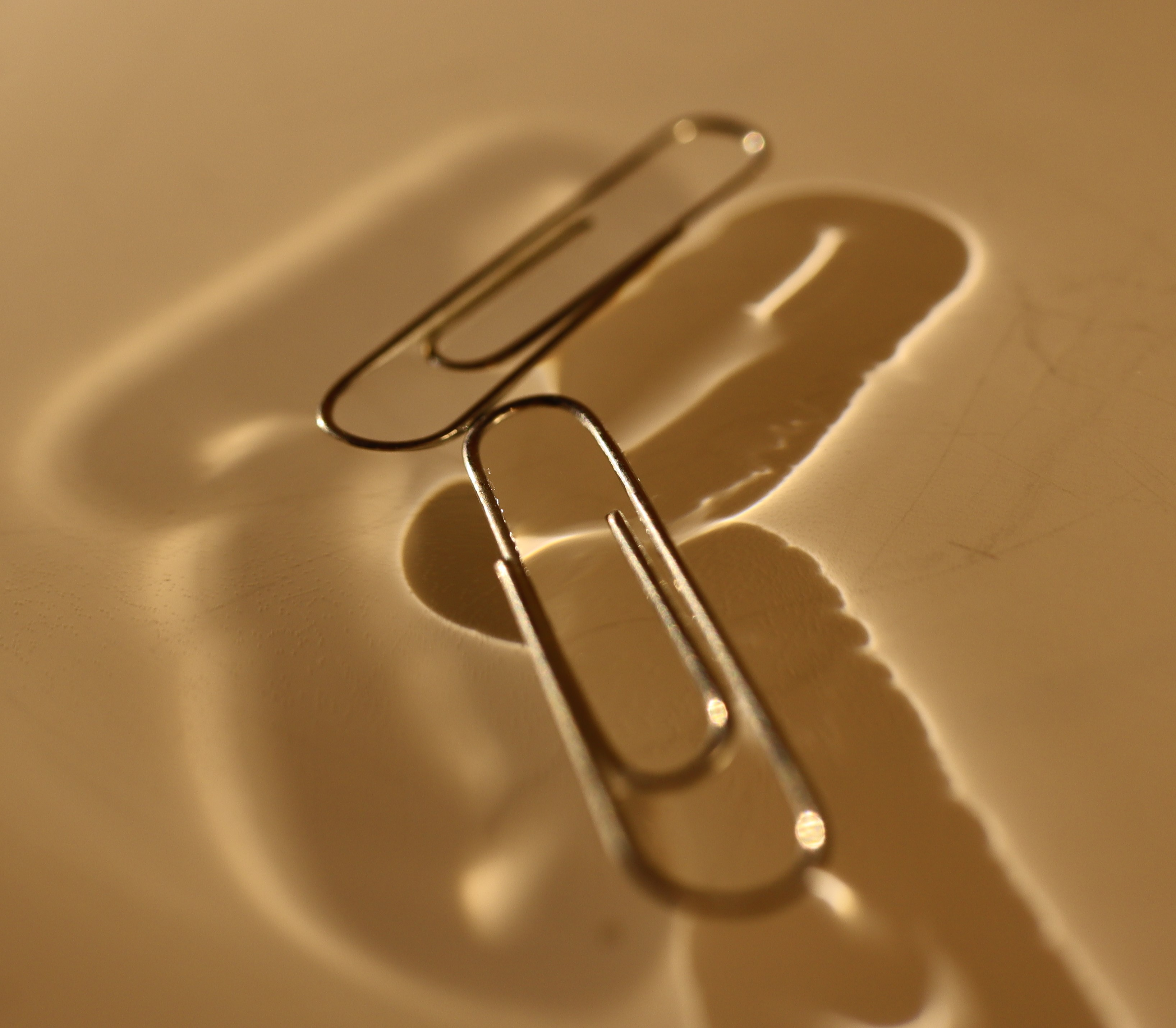 Paperclips floating