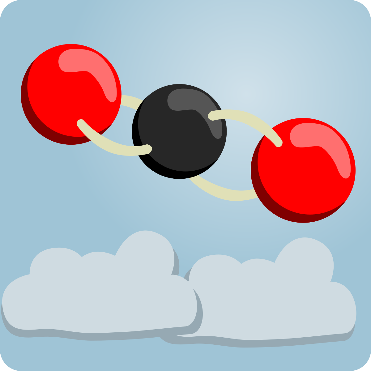 A chemical structure for carbon dioxide